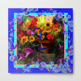 Blue Morning Glories Floral Still life Metal Print