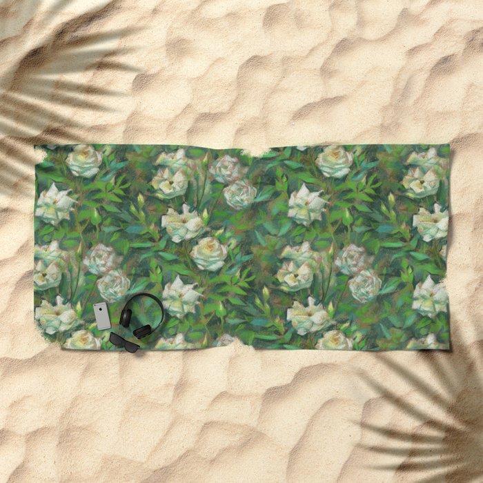 White roses, green leaves Beach Towel