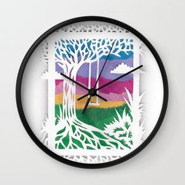 Sunset Swing Papercut Wall Clock