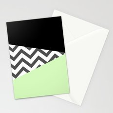 Color Blocked Chevron 3 Stationery Cards