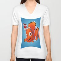 finding nemo V-neck T-shirts featuring nemo  , nemo  games, nemo  blanket, nemo  duvet cover by ira gora