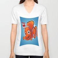 nemo V-neck T-shirts featuring nemo  , nemo  games, nemo  blanket, nemo  duvet cover by ira gora