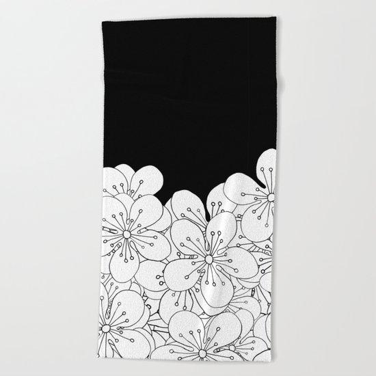 Cherry Blossom Boarder Beach Towel