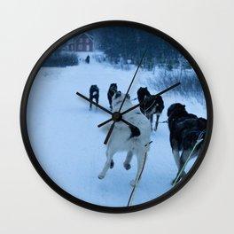 dog sledding, norway Wall Clock
