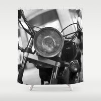 motorcycle Shower Curtains featuring Motorcycle by James Tamim