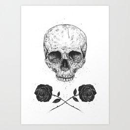 Skull N' Roses Art Print
