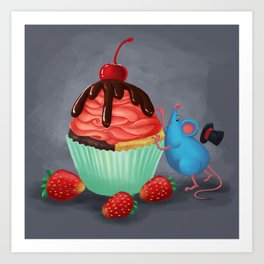 Mr. Bluemouse and a Strawberry Cupcake Art Print