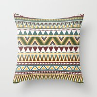 aztec Throw Pillows featuring Aztec by Dianne Delahunty