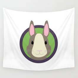 Cute Rabbit head with purple cirlcle Wall Tapestry
