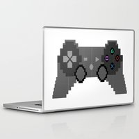 video game Laptop & iPad Skins featuring Pixelized Video Game Controller by Merr Peng