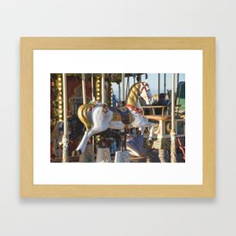 Wooden horse riding Framed Art Print