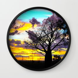 Mellow Yellow Sunset thru Boab Wall Clock