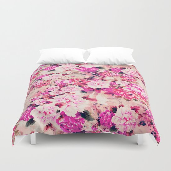 Elegant Pink Chic Floral Pattern Girly Peonies Duvet Cover