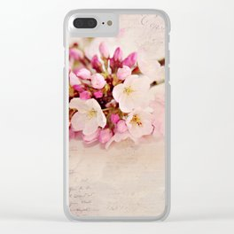 cherry blossoms with typography Clear iPhone Case