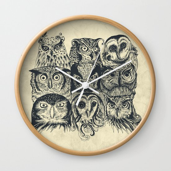 Nine Owls Wall Clock
