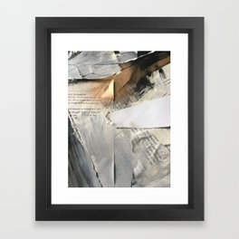Too Soon | Collage Series 1 | mixed-media piece in gold, black and white + book pages Framed Art Print