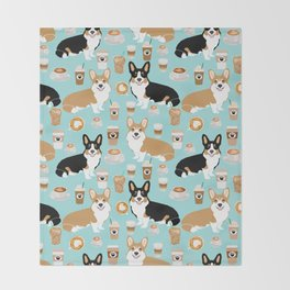 Corgis and coffee pillow phone case corgi gift cute cardigan corgi art Throw Blanket