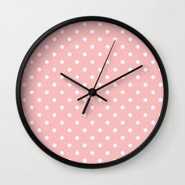 Powder Pink with White Polka Dots Wall Clock