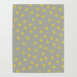 Simply Dots Mod Yellow on Retro Gray Poster
