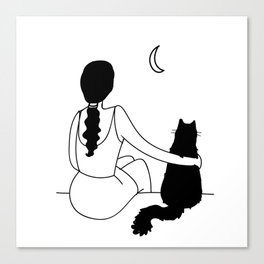Minimal Drawing Girl with Cat Looking at the Moon Black White Canvas Print