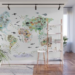 Cartoon animal world map for children, kids, Animals from all over the world, back to school, white Wall Mural