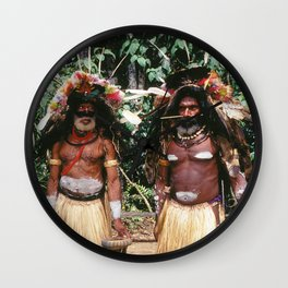 Papua New Guinea Village Sing Sing Authentic Celebration Wall Clock