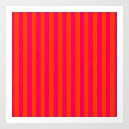 Orange Pop and Hot Neon Pink Vertical Stripes Art Print