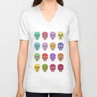 sugar skulls V-neck T-shirts featuring Sugar Skulls by Andrew O'Rourke