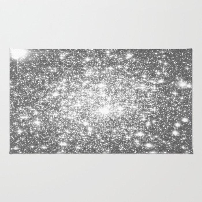 Silver Gray Galaxy Sparkle Stars Rug