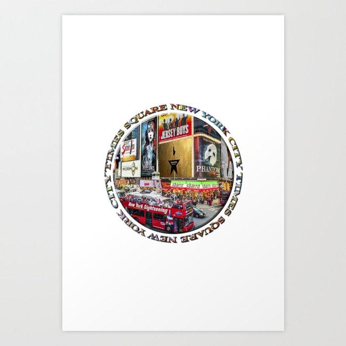 Times Square New York City (badge emblem on white) Art Print