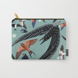 Swallows Martins and Swift pattern Turquoise Carry-All Pouch
