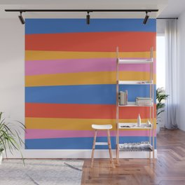 Groovy Stripes Irregular Stripe Pattern in Mustard, Red, Blue, and Pink Wall Mural