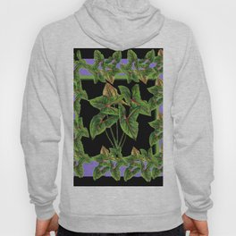 Decorative Green Tropical Botanical Foliage  Lilac-Black Art Hoody