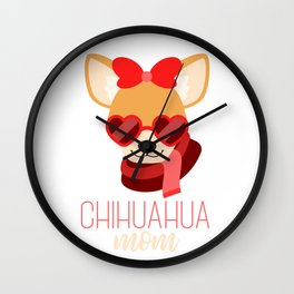 Funny Chihuahua Mom Dog Lover Mother Cute Design Wall Clock