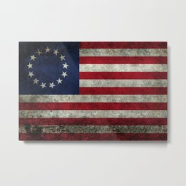 Betsy Ross flag, distressed textures Metal Print