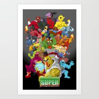 sesame street Art Prints featuring Super Sesame Street Fighter by gavacho13