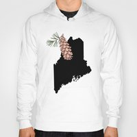 maine Hoodies featuring Maine Silhouette by Ursula Rodgers