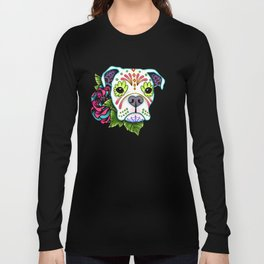 Boxer in White- Day of the Dead Sugar Skull Dog Long Sleeve T-shirt