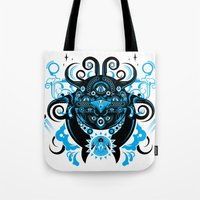 cthulu Tote Bags featuring Lovecraftian Cosmic Horror by BlanzyDesign