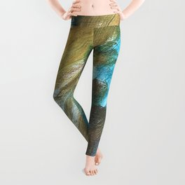 Blue and Gold Abstract Painting Leggings