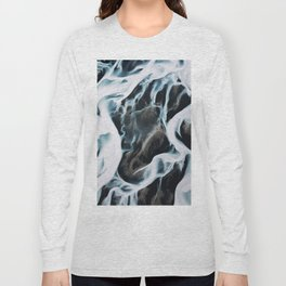 Aerial of an abstract River in Iceland Long Sleeve T-shirt