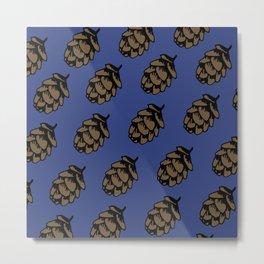 Blue Pinecone Pattern Metal Print