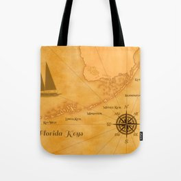 Vintage Nautical Florida Keys Map Tote Bag