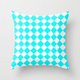 Diamonds - White and Aqua Cyan Throw Pillow