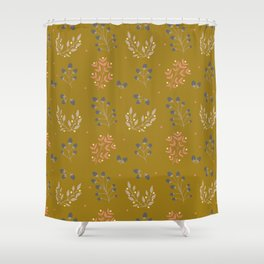 Mustard Yellow Fall Floral Shower Curtain