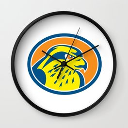 Peregrine Falcon Head Circle Retro Wall Clock