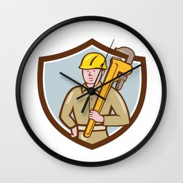 Plumber Holding Wrench Crest Cartoon Wall Clock