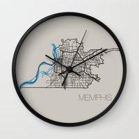 memphis Wall Clocks featuring Memphis by linnydrez