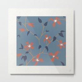 Floral Clematis Vine - Indigo Sunset Metal Print