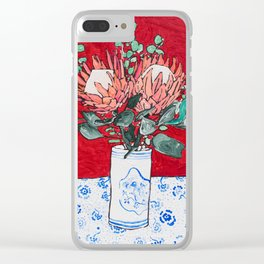 Delft Bird Vase of Proteas on Red Clear iPhone Case